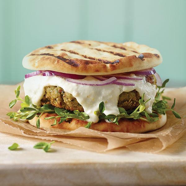 Tre Stelle Recipe - Lamb Burgers with Tre Stelle Feta Yogurt Topping